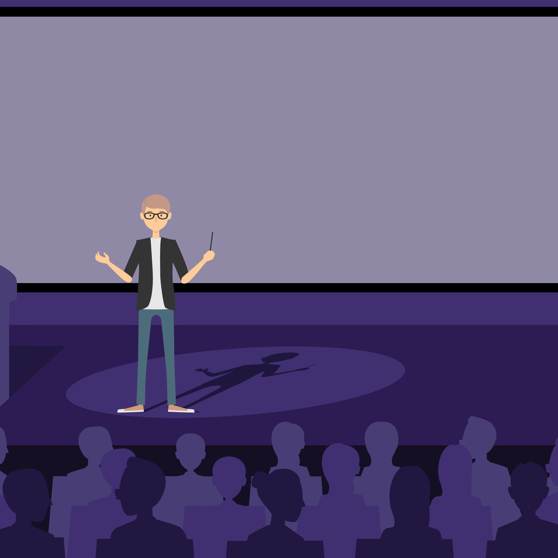 Ilustracion de Bill Gates hablando en una conferencia