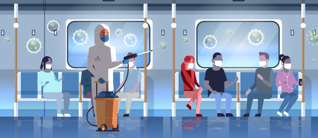 Persona desinfectando el transporte publico de COVID-19