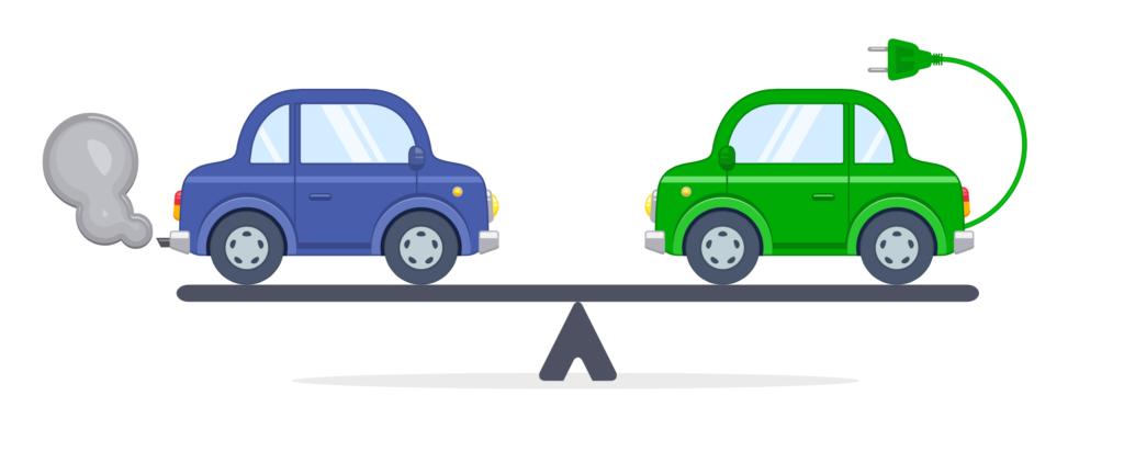 Comparacion auto de gasolina contra auto electrico en una balanza