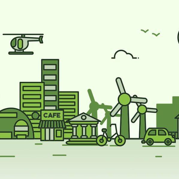 Concepto de una ciudad verde en Mexico