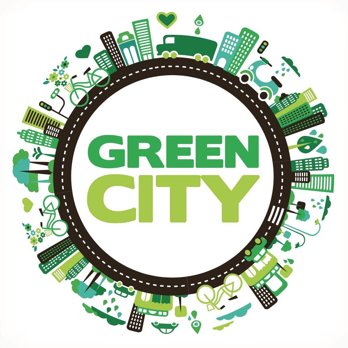 Ilustracion de ciudad verde
