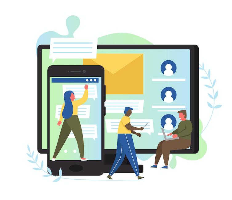 Ilustracion de diferentes dispositivos y plataformas que las personas pueden usar para comunicarse y permanecer conectadas durante distanciamiento social