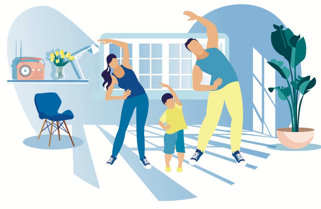 Ilustracion de una familia ejercitandose juntos