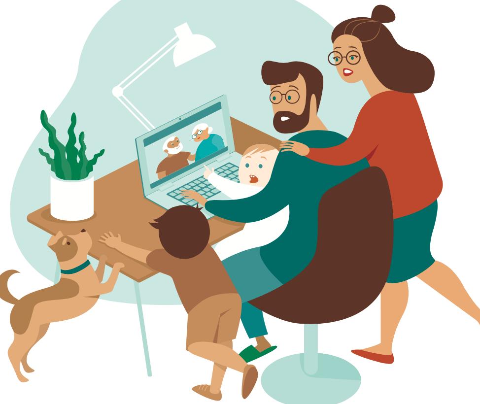 Ilustracion de una familia hablando con sus parientes en videollamada con una laptop durante el social distancing