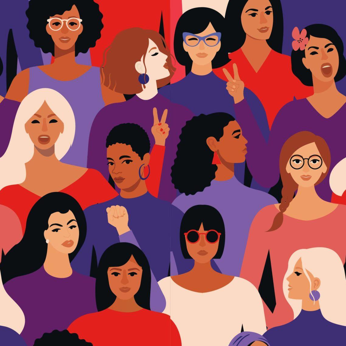 Ilustracion de un grupo diverso de mujeres