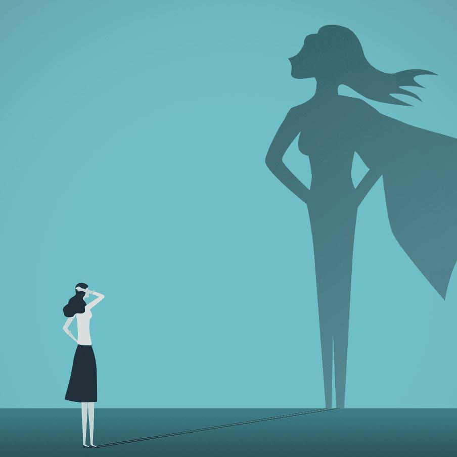 Ilustracion de mujer de negocios con la sombra de superheroina