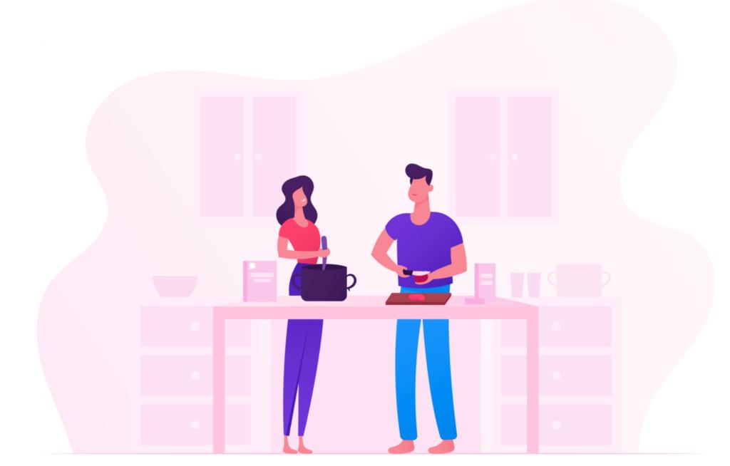 Ilustracion de pareja cocinando juntos en casa
