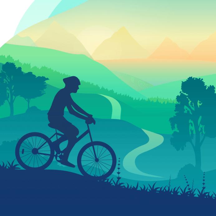 Ilustracion de una persona haciendo cicloturismo en una bicicleta en la montana