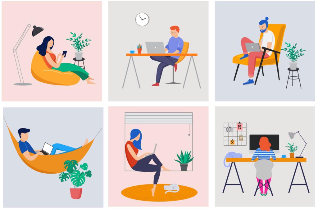 Diferentes ilustraciones de personas trabajando desde casa con diferentes organizaciones de lugares de trabajo