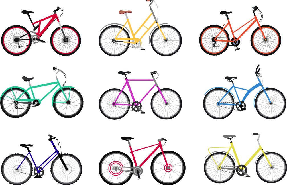 Ilustracion de diferentes tipos de bicicletas para hacer cicloturismo