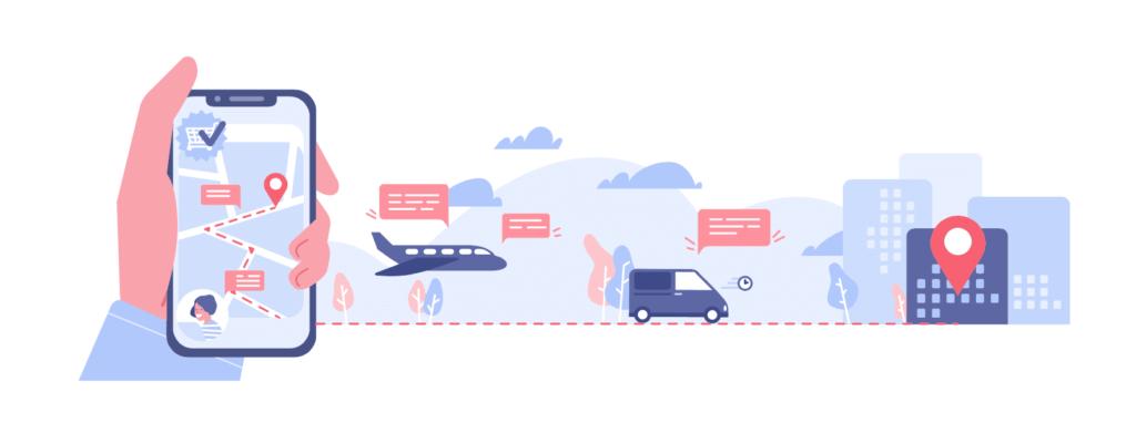Ilustracion de una mano sujetando un smartphone y reservando un medio de transporte