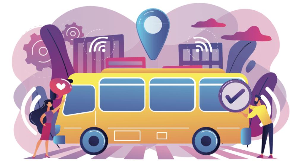 Ilustracion de dos personas cerca de un autobus electrico autonomo