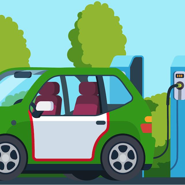 Ilustracion de un carro electrico mexicano recargando bateria cerca de un parque