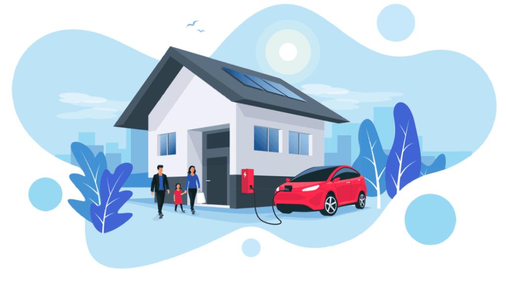 Ilustracion de un carro electrico rojo cargando bateria afuera de una casa
