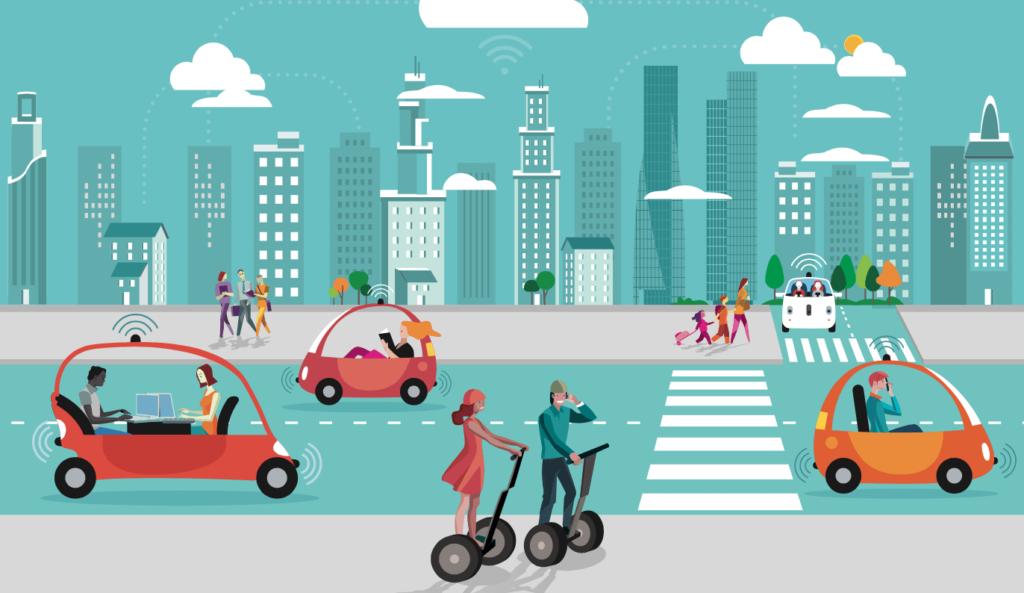 Ilustracion de gente usando medios de transporte avanzados como coches autonomos, vehiculos electricos y scooters inteligentes