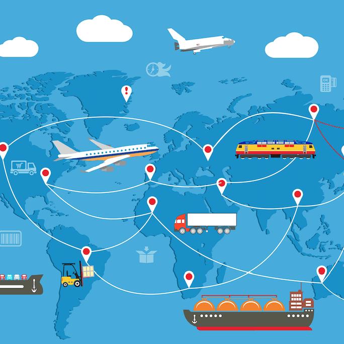 Ilustracion de medios de transporte aereos, maritimos y terrestres en un mapa global