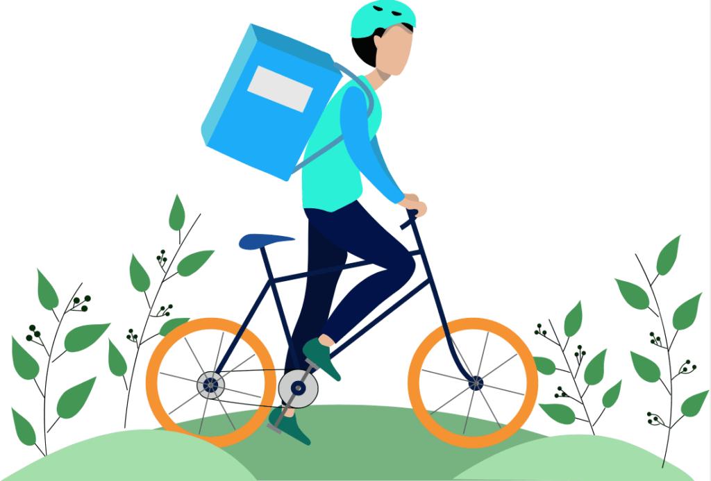 Concepto de un repartidor en una bicicleta usando un casco protector para seguir las recomendaciones del Programa de Seguridad