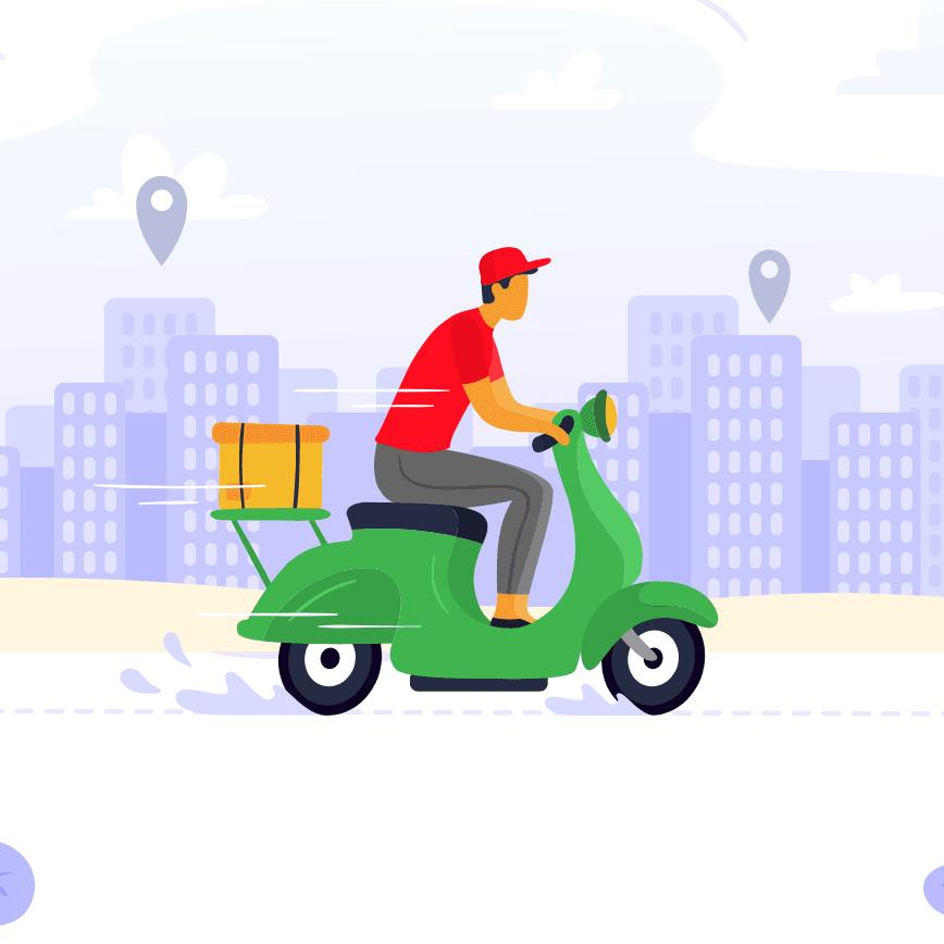 Concepto de un repartidor de Didi manejando una motocicleta con el fondo de la ciudad
