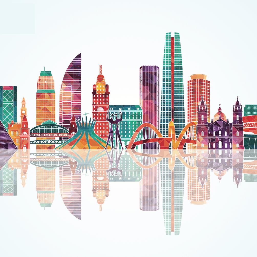 Ilustracion colorida de edificios y monumentos de Latinoamerica