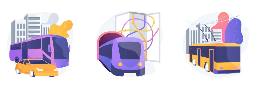 Ilustracion de medios de transporte urbanos: autobus, tren y trolebus