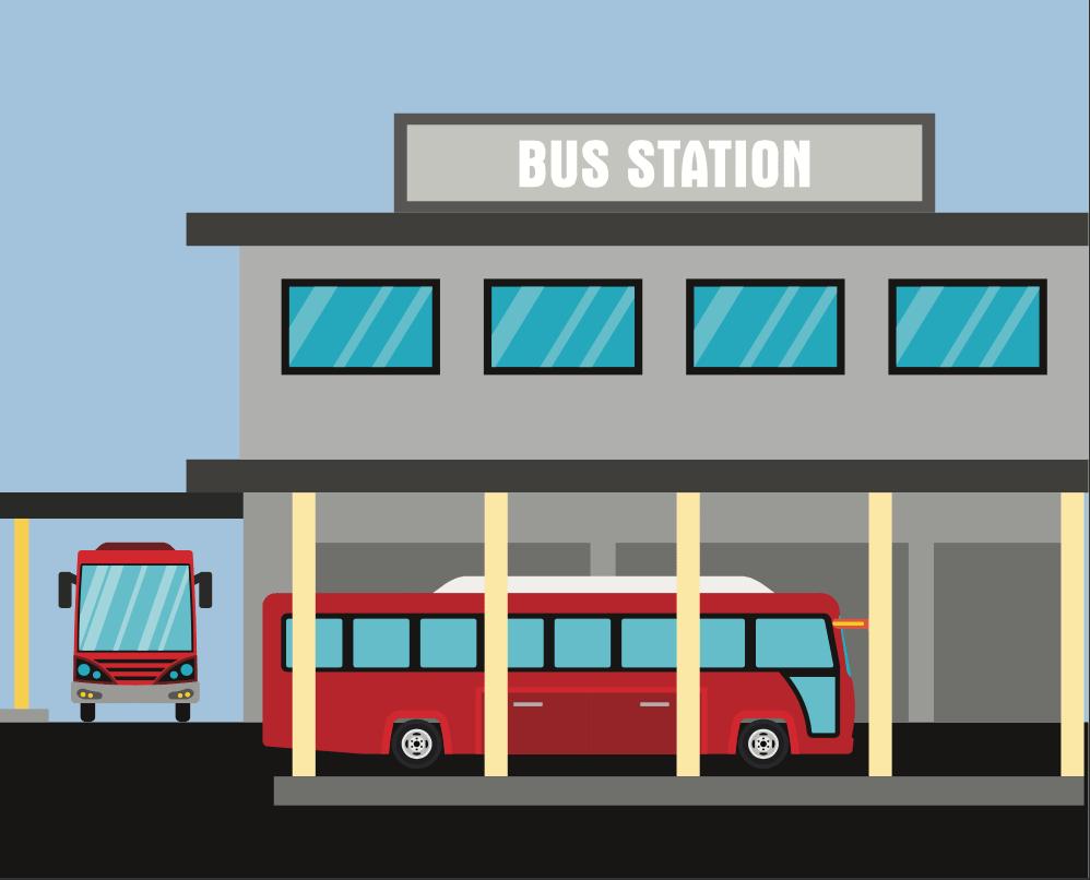 Ilustracion de de una central de autobuses con dos camiones rojos estacionados