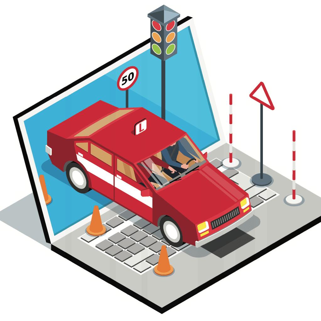 Ilustracion de un automovil saliendo de la pantalla de una laptop con un semaforo y otros elementos viales para ilustrar un curso de educacion vial en linea