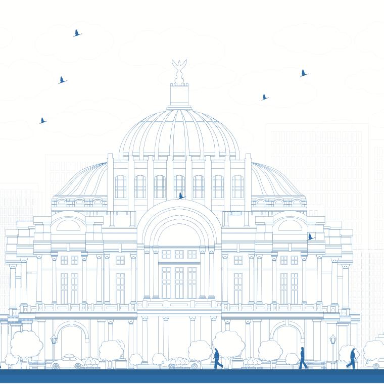 Dibujo de la CDMX con monumentos famosos como el Angel de la Independencia y Bellas Artes
