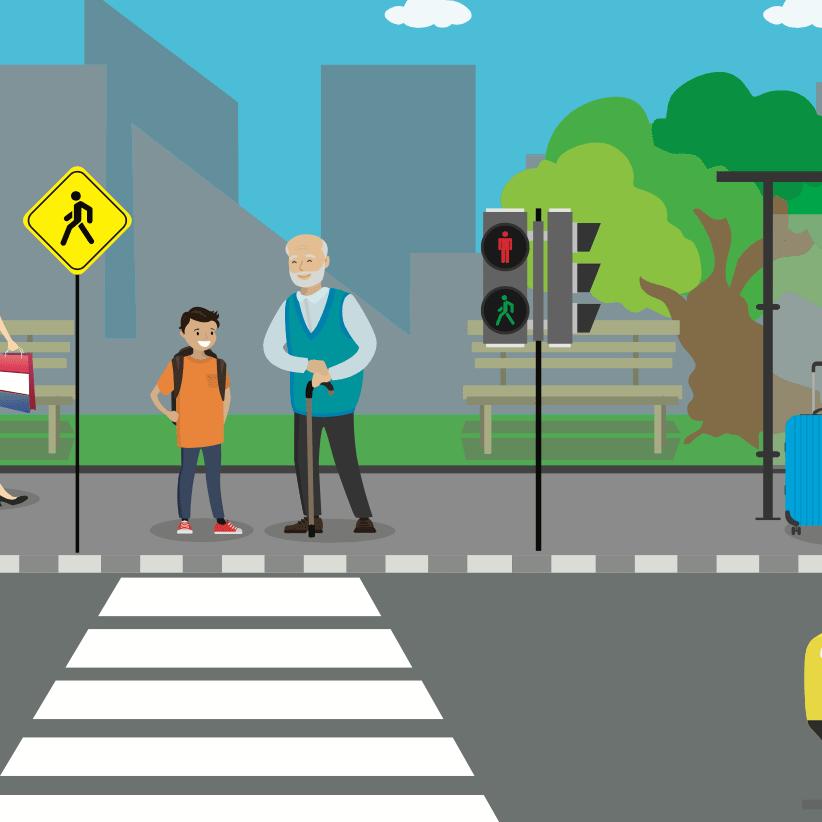 Ilustracion de un niño y su abuelo esperando que el semaforo cambie a verde para cruzar la calle