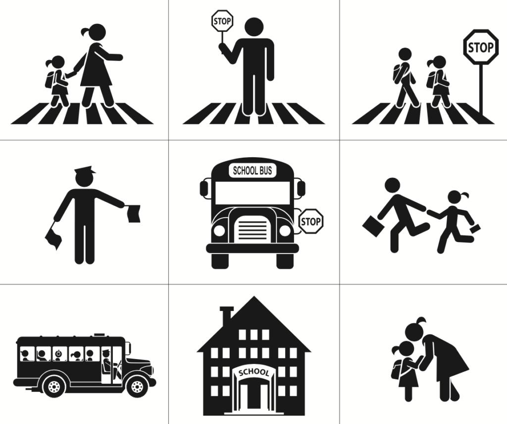 Conjunto de nueve diferentes señaleticas de educacion vial para niños