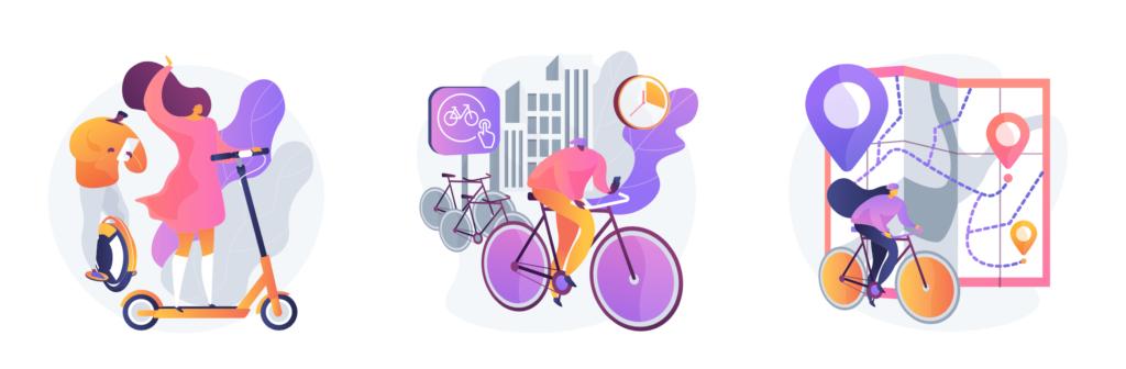 Ilustracion de gente usando scooters, bicicletas electricas y bicicletas