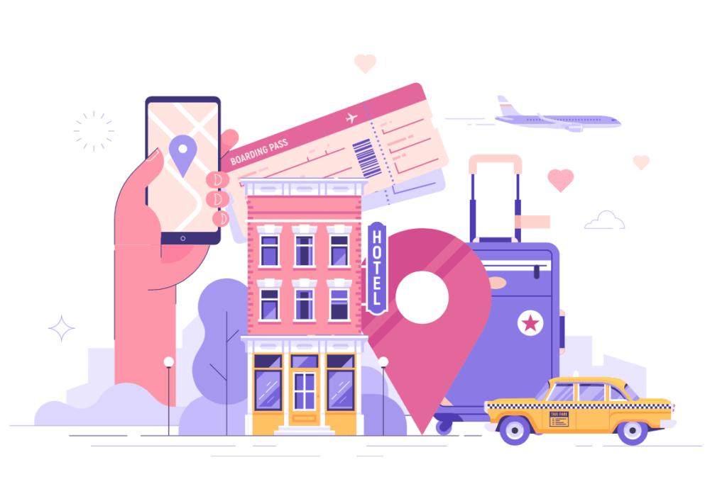 Illustracion de un hotel, un taxi, boletos de avion y una maleta