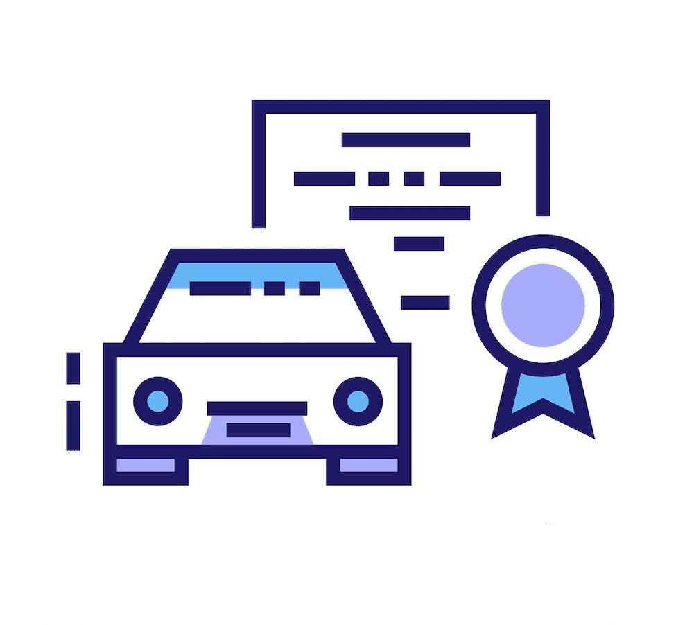 Iconos de un diploma vial con un auto