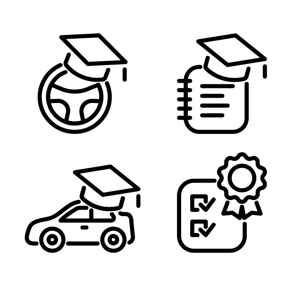 Quatro iconos de educacion vial