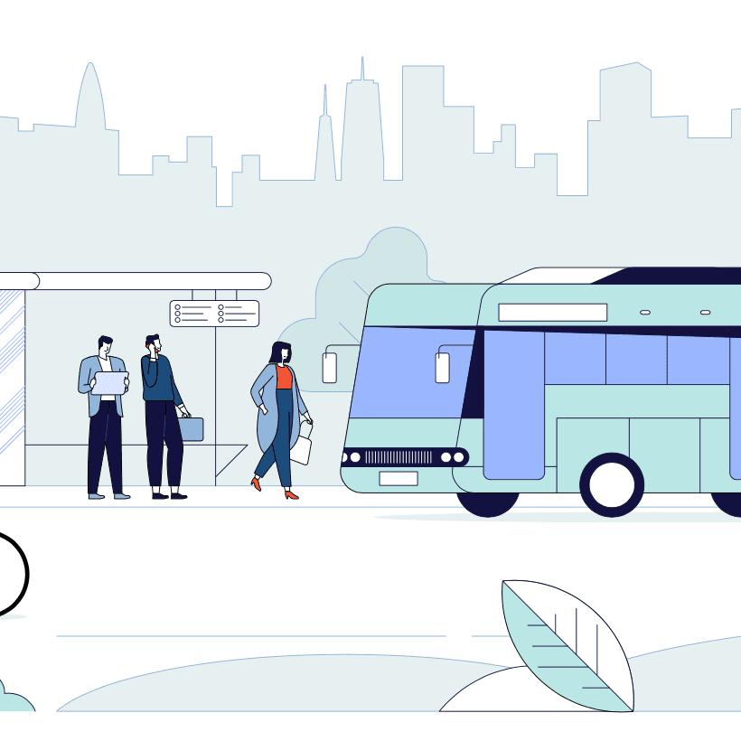 Ilustracion de gente usando medios de transporte urbanos como autobuses y bicicletas con el fondo de una ciudad