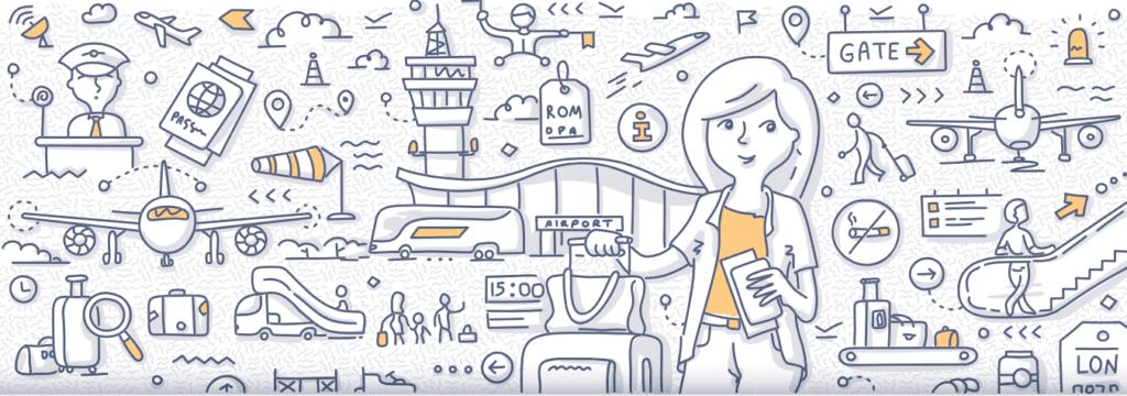 Concepto de una mujer viajando sola con ilustraciones de varios medios de transporte como autobuses, aviones, metro y taxis.
