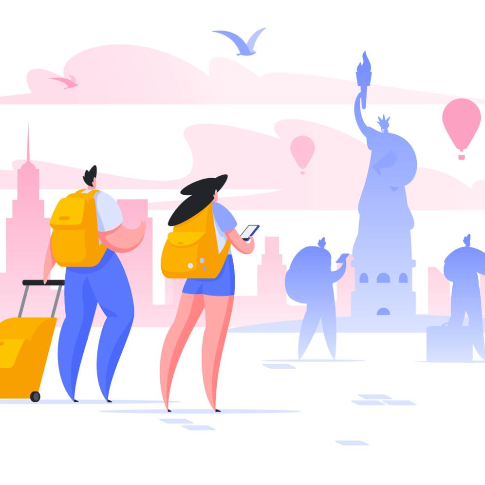 Ilustracion de una pareja tomando fotos del Estatua de la Libertad en Nueva York