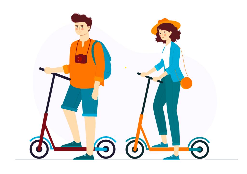 Ilustracion de una pareja de turistas en scooters