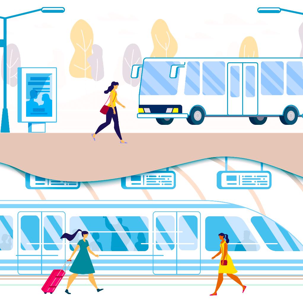 Ilustracion de gente cerca de un autobus de transito rapido BRT