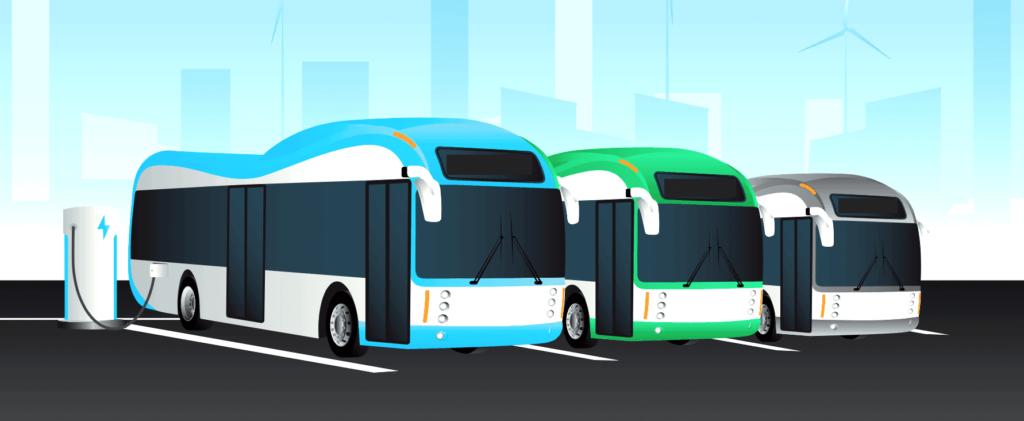 Ilustracion de tres autobuses electricos cargando bateria