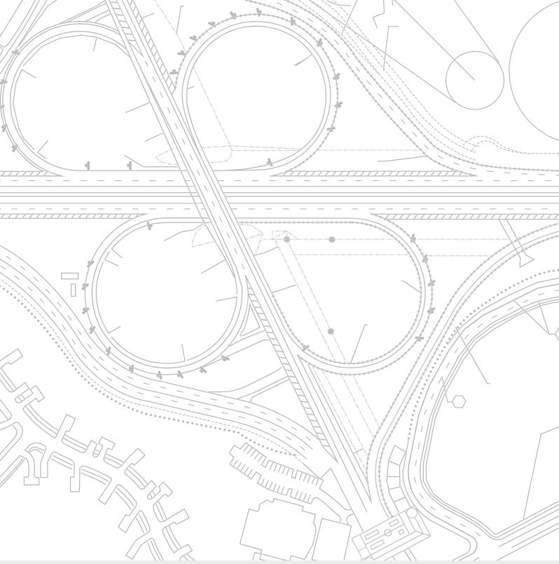 Boceto en blanco y negro de un proyecto de movilidad urbana