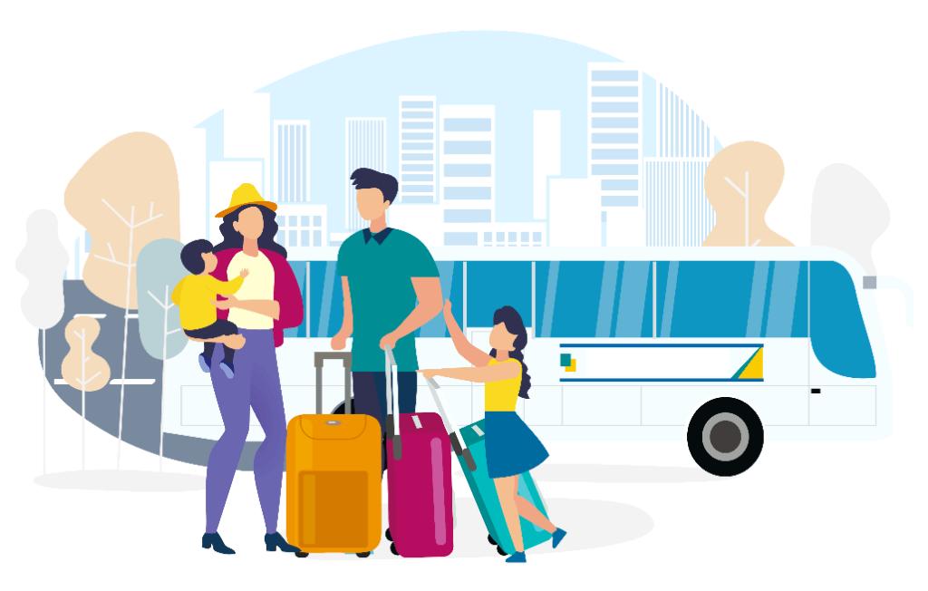 Ilustracion de una familia con dos ninos y dos maletas a punto de viajar en autobus