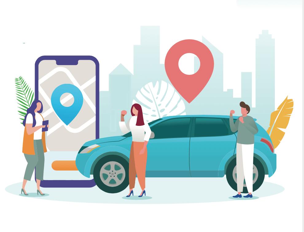 Ilustracion de un hombre y dos mujeres planeando un viaje usando un carro compartido