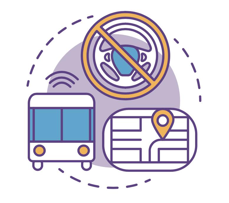 Iconos de un autobus autonomo sin conductor, un volante y un mapa con el icono de ubicacion