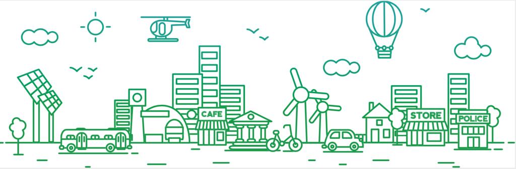 Boceto en verde de medios de transporte sustentables: autobus, bicicleta, carro y globo aerostatico con el fondo de una ciudad con edificios y monumentos