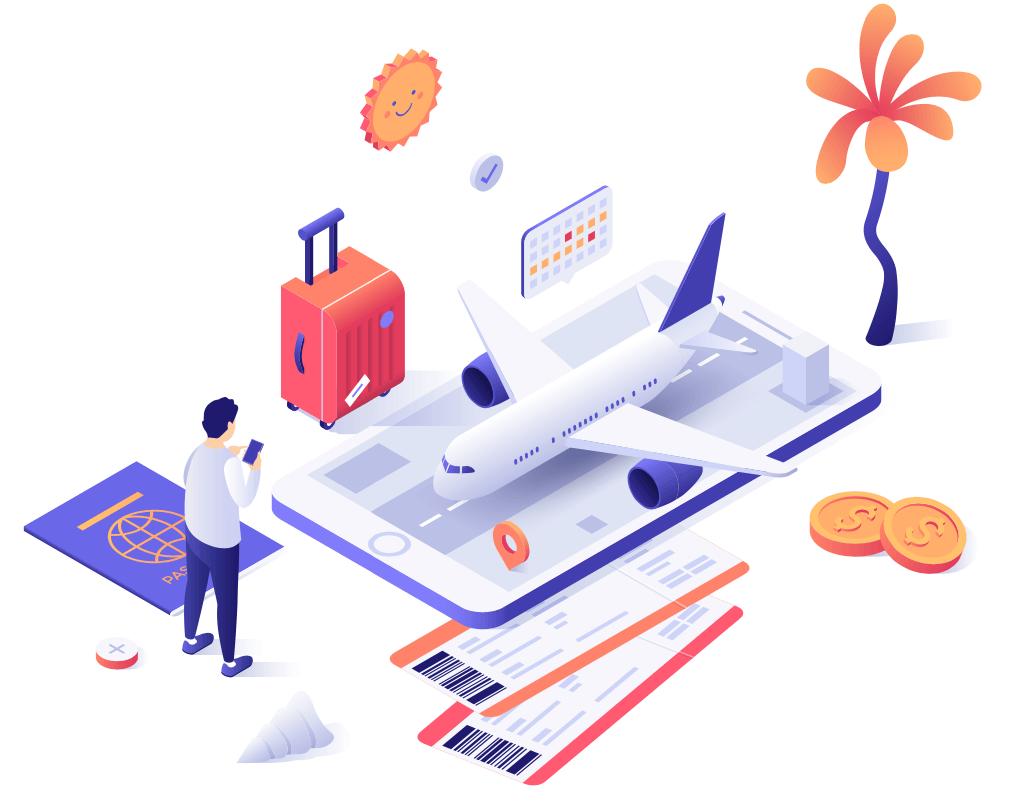 llustracion de una persona usando su celular para comprar boletos de avion con las imagenes de un celular gigante, un avion, una maleta, un pasaporte, monedas y un calendario