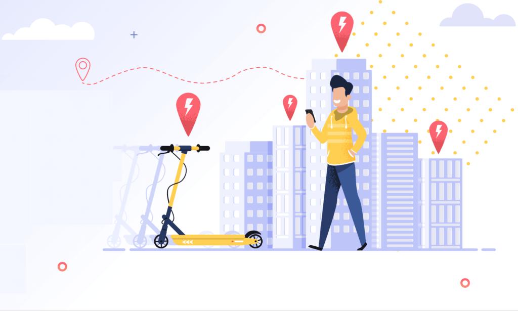Ilustracion de un hombre reservando un scooter electrico mediante su celular
