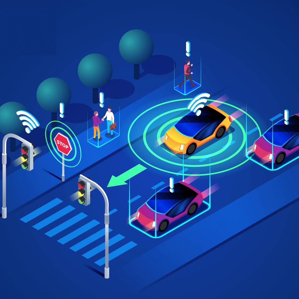 Ilustracion de dos semaforos conectados con vehiculos en una calle