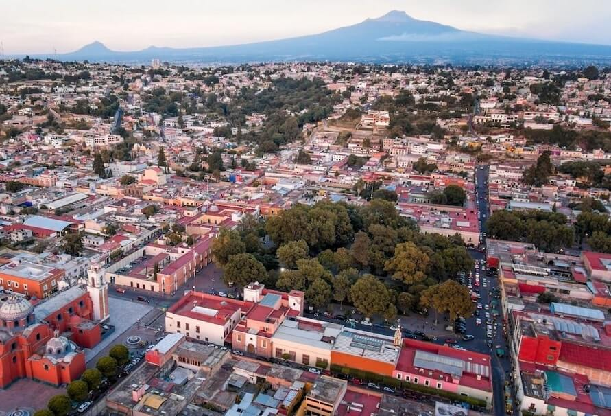 Huamantla, Tlaxcala, vista desde el cielo, ideal para un vuelo romantico en globo en Mexico