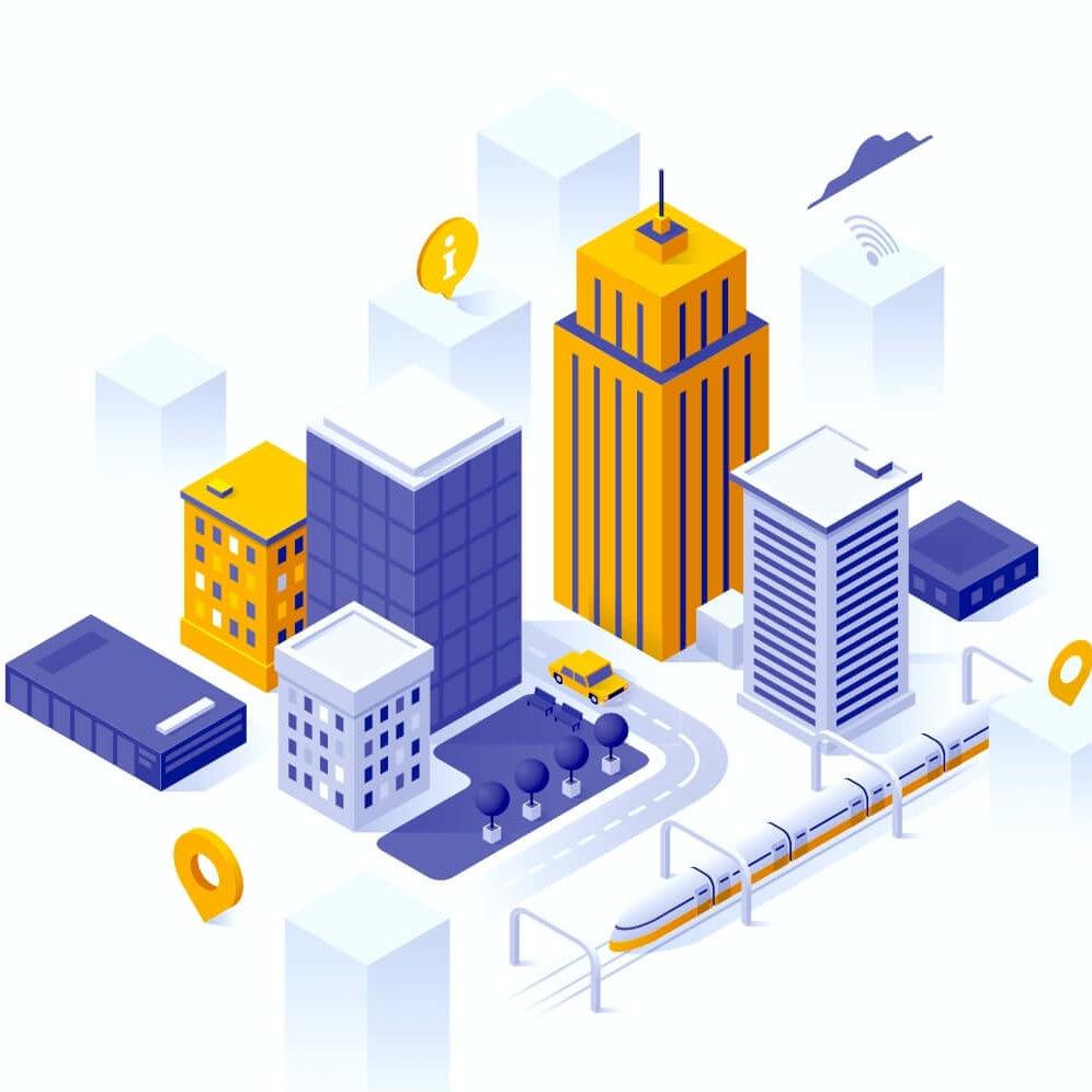 Ilustracion de una ciudad con desarrollo urbano e infraestructura de transporte moderna