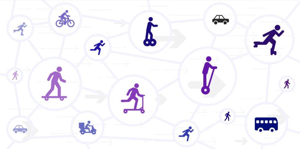 Ilustracion de un red de iconos de medios de transporte alternativos y convencionales